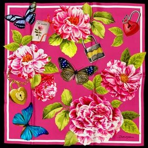 NWT DOLCE & GABBANA Floral Roses Butterflies Scarf